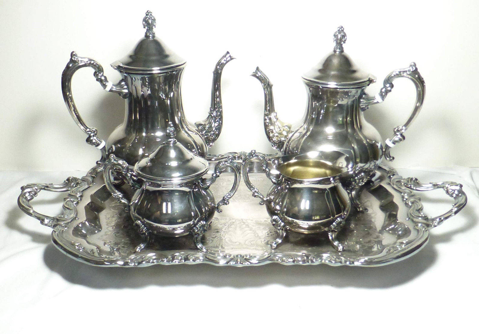 Silver Plate 5 pc Coffee Tea Set Service