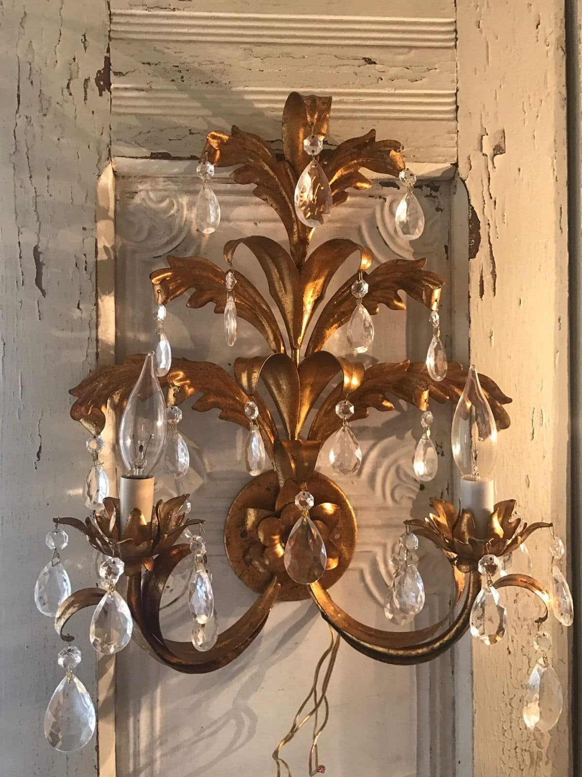 Antique Italian Tole Gold Florentine Wall Sconce