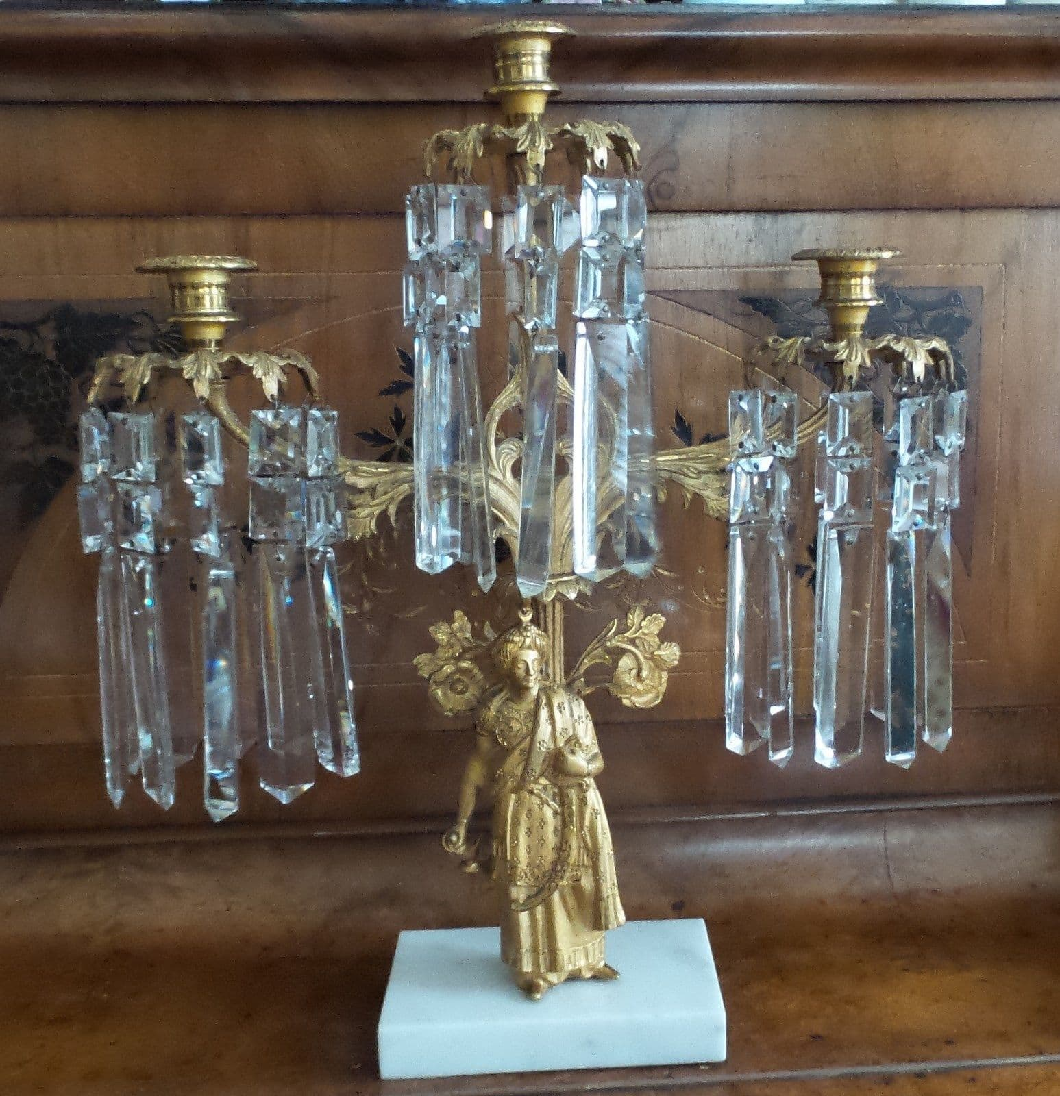 ANTIQUE CRYSTAL GOLD PLATED GIRANDOLE CANDELABRA