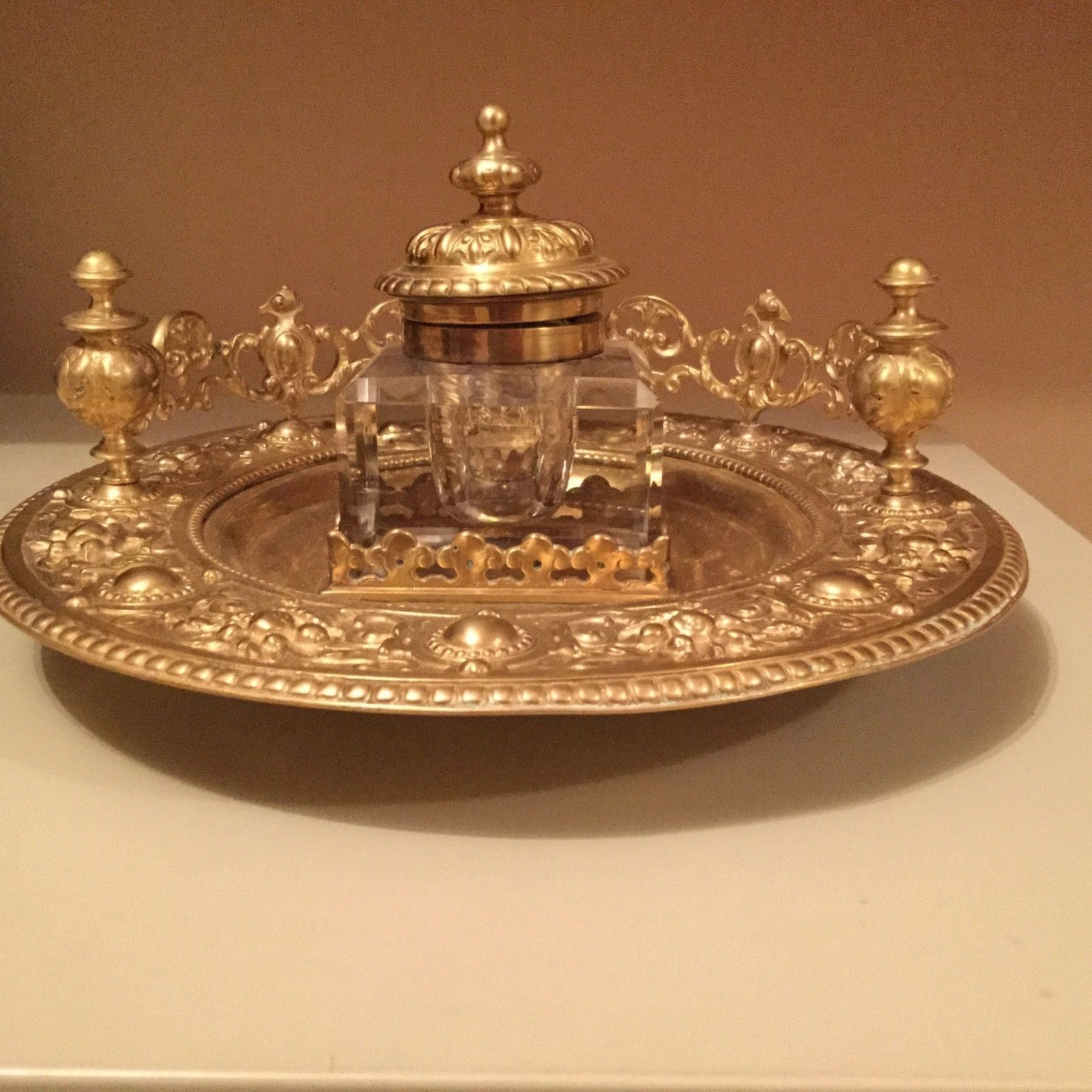Antique French 19th century crystal inkwell with ornate and elegant bronze base