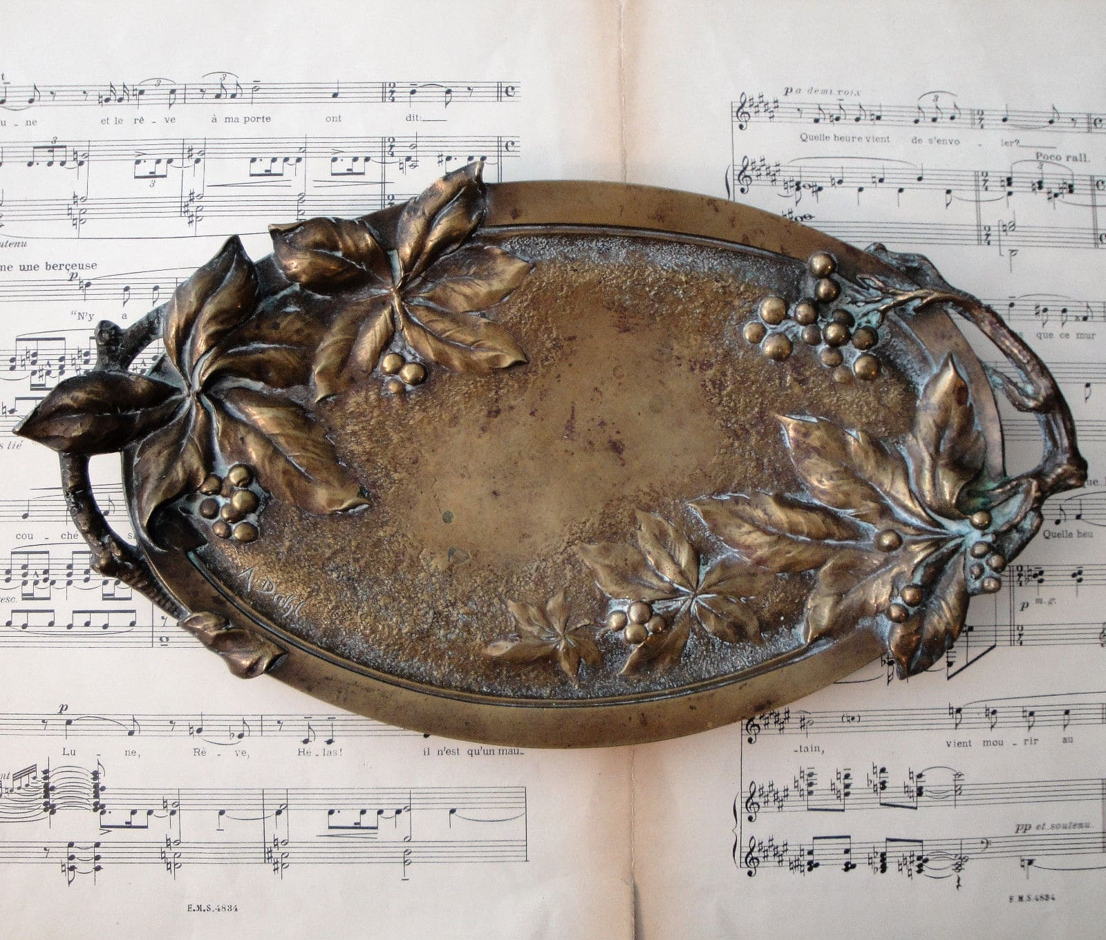 Antique French Art Nouveau Bronze Tray
