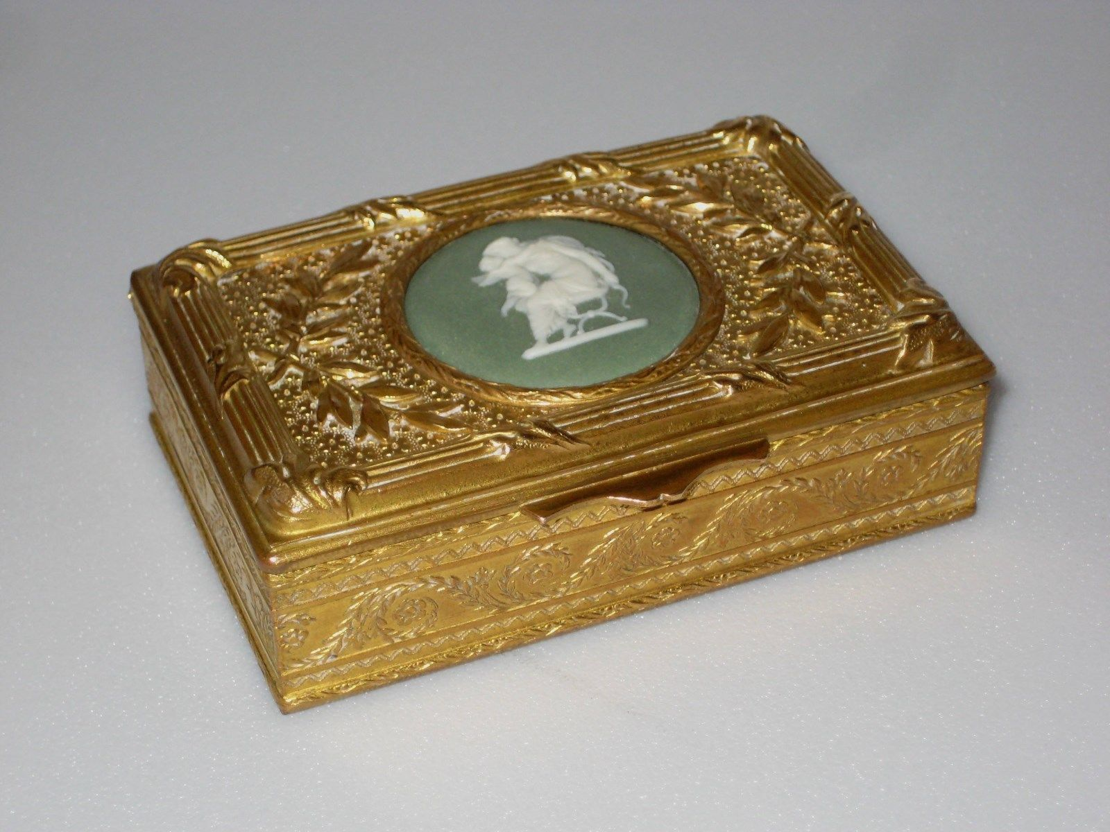 Antique French Gilded Metal Box with Signed English Wedgwood Medallion