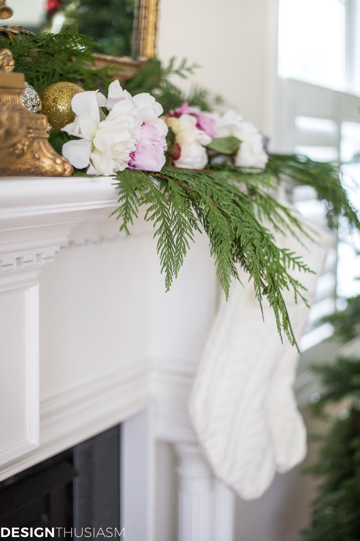 romantic holiday decorating with a christmas mantel garland designthusiasmcom - Christmas Mantel Decorations Garland