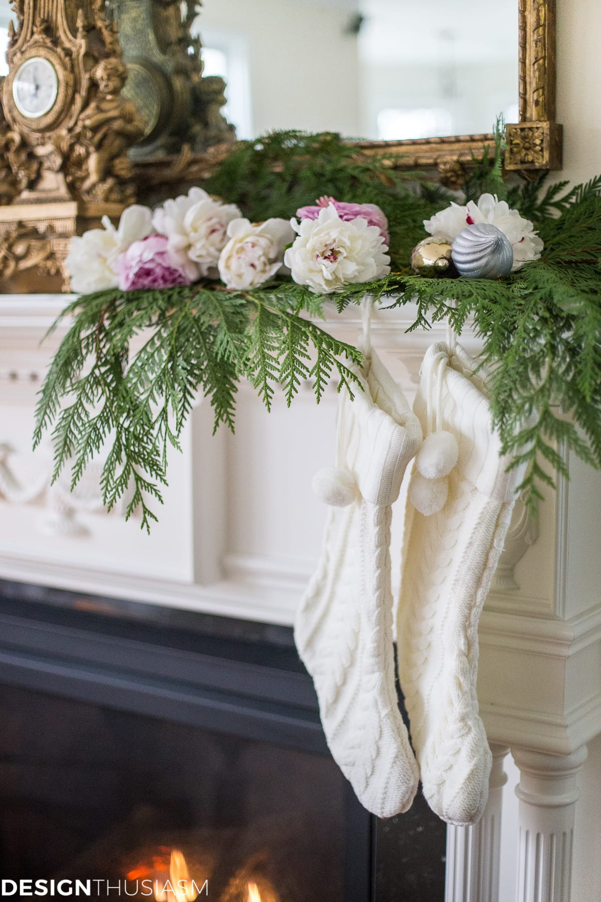 Romantic Holiday Decorating With A Christmas Mantel Garland  Designthusiasmcom