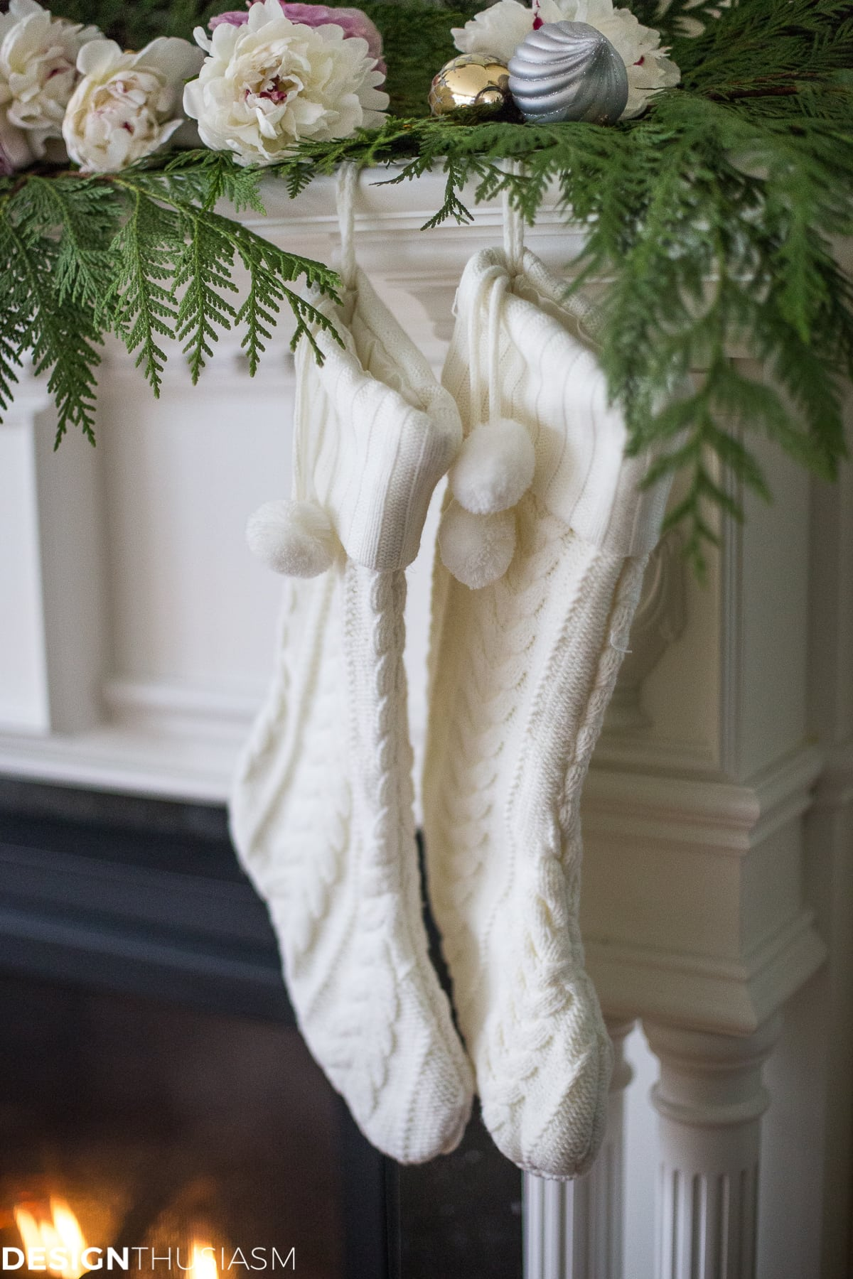 Romantic Holiday Decorating with a Christmas Mantel Garland - designthusiasm.com