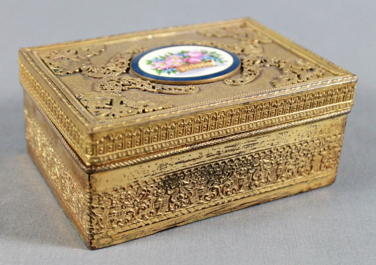 FRENCH ORMOLU BOX WITH ENAMEL