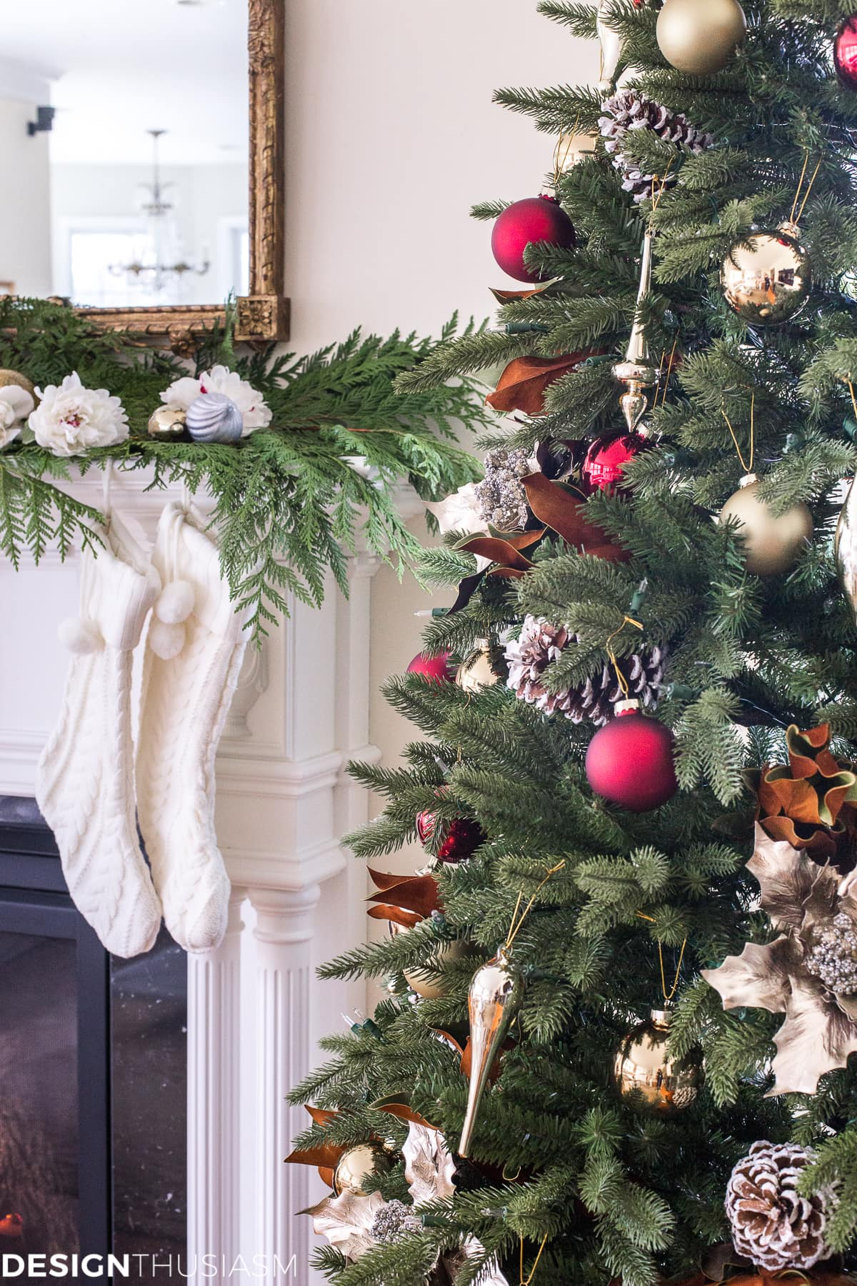 Adding Cheer to the Family Room with a Slim Christmas Tree - designthusiasm