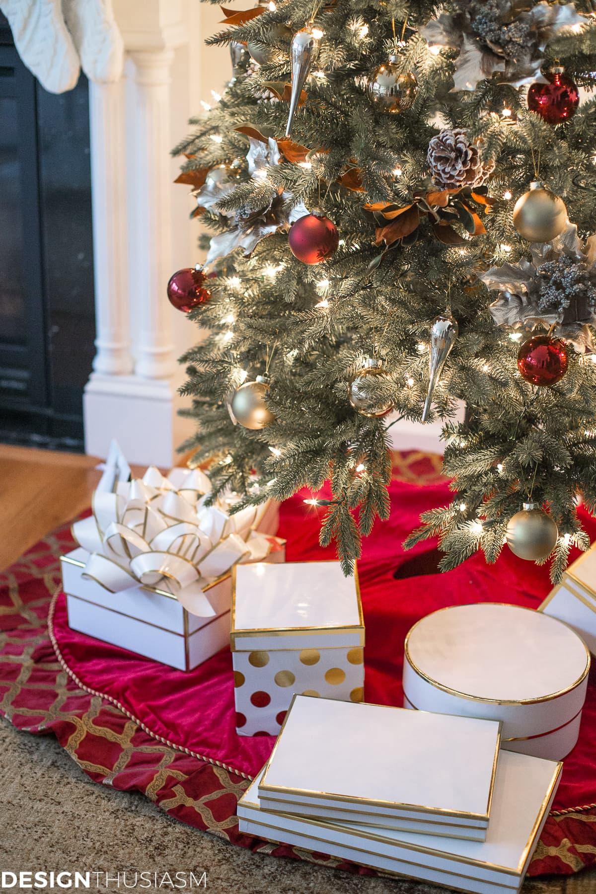Adding Cheer to the Family Room with a Slim Christmas Tree - designthusiasm.com