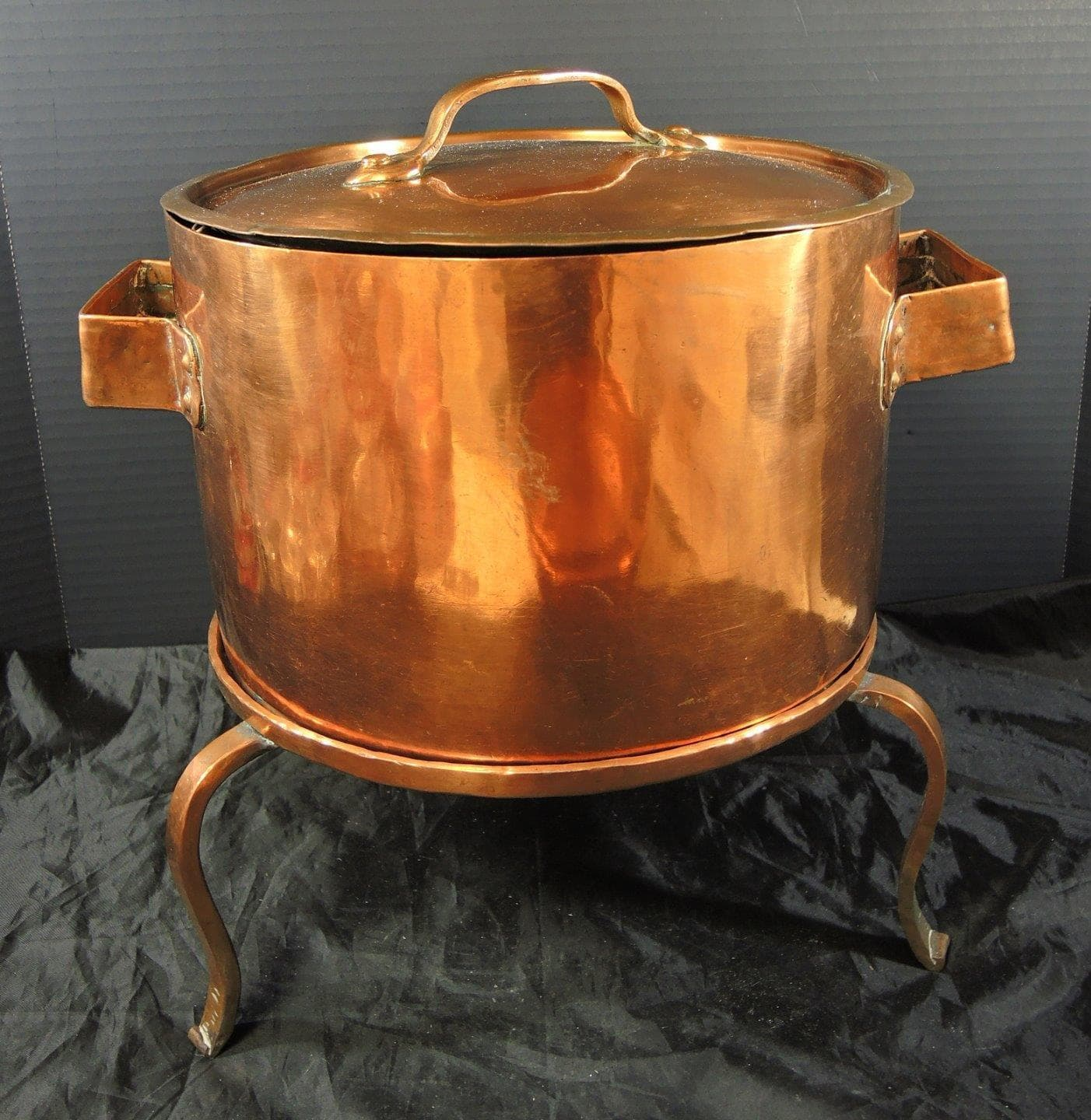 Monumental Antique French Copper Handwrought Stew Pot With Tripod Base