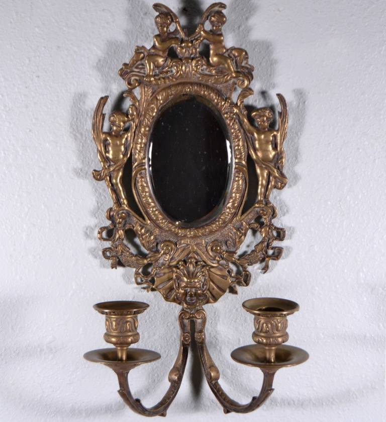 Antique French Mirror Wall Sconce with Cherubs