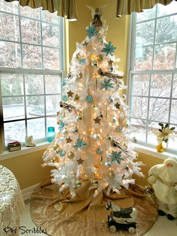 White Christmas Tree in Breakfast Room