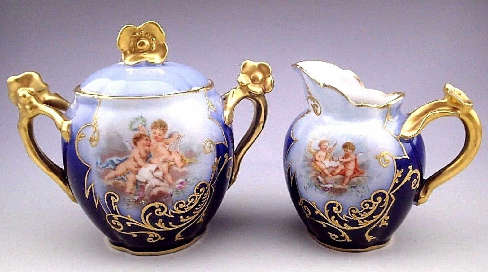 Antique Guerin Limoges French Cherubs Cobalt Gold Sugar Bowl and Creamer