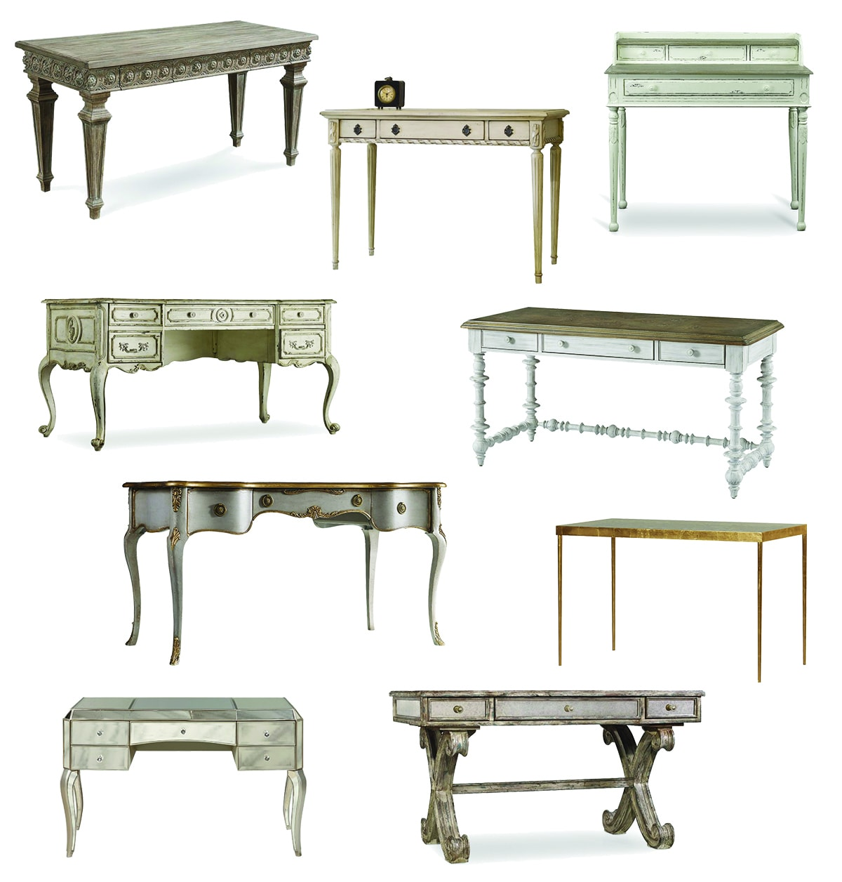 French Writing Desk Distressed Wood Desks