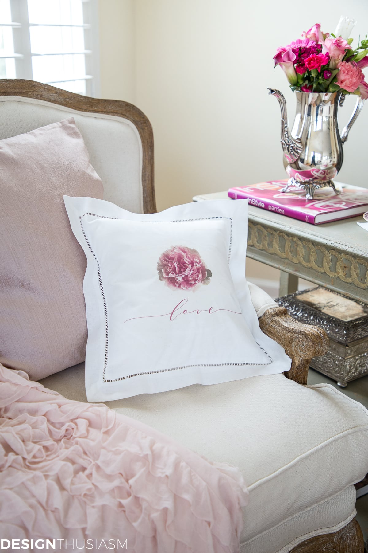 Peony Love | Romantic Decorative Pillow Covers - designthusiasm.com