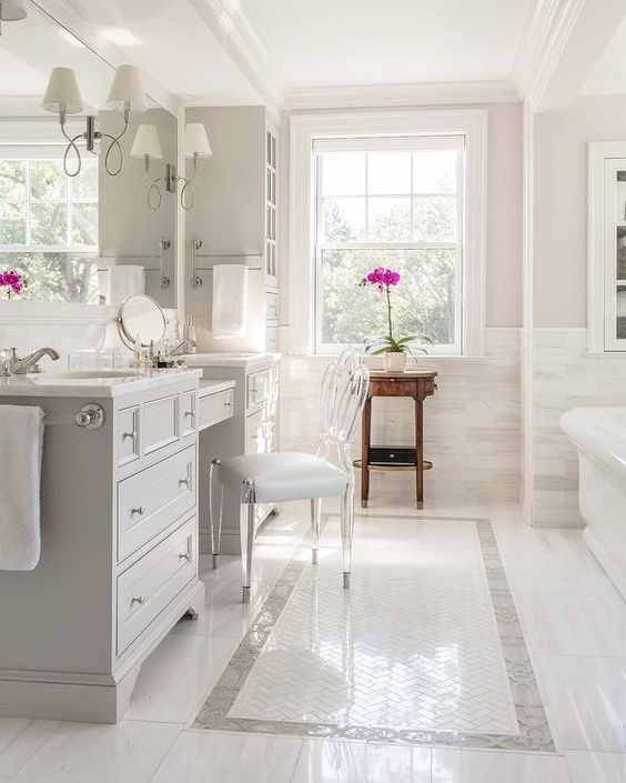 White master bath Inspiration - Carter & Company Interior Design