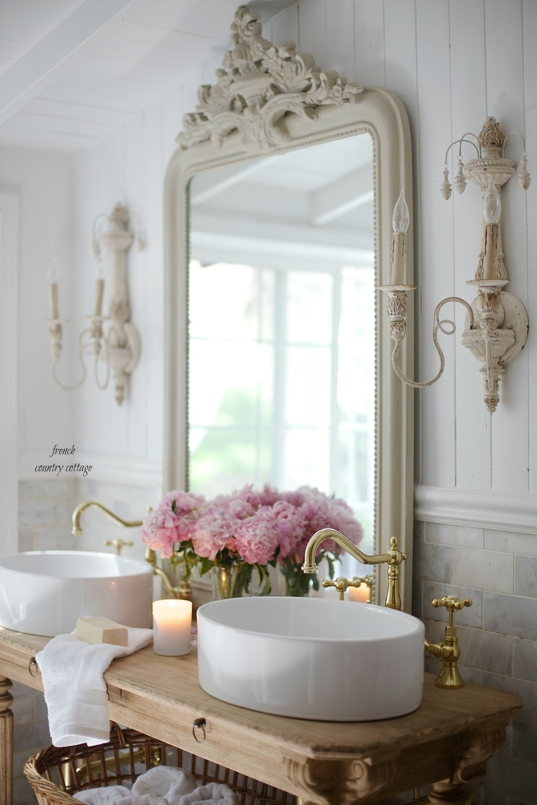 White master bath Inspiration - French Country Cottage