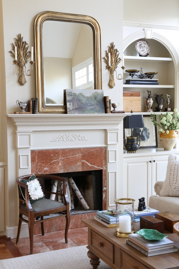 French Country Winter Mantel