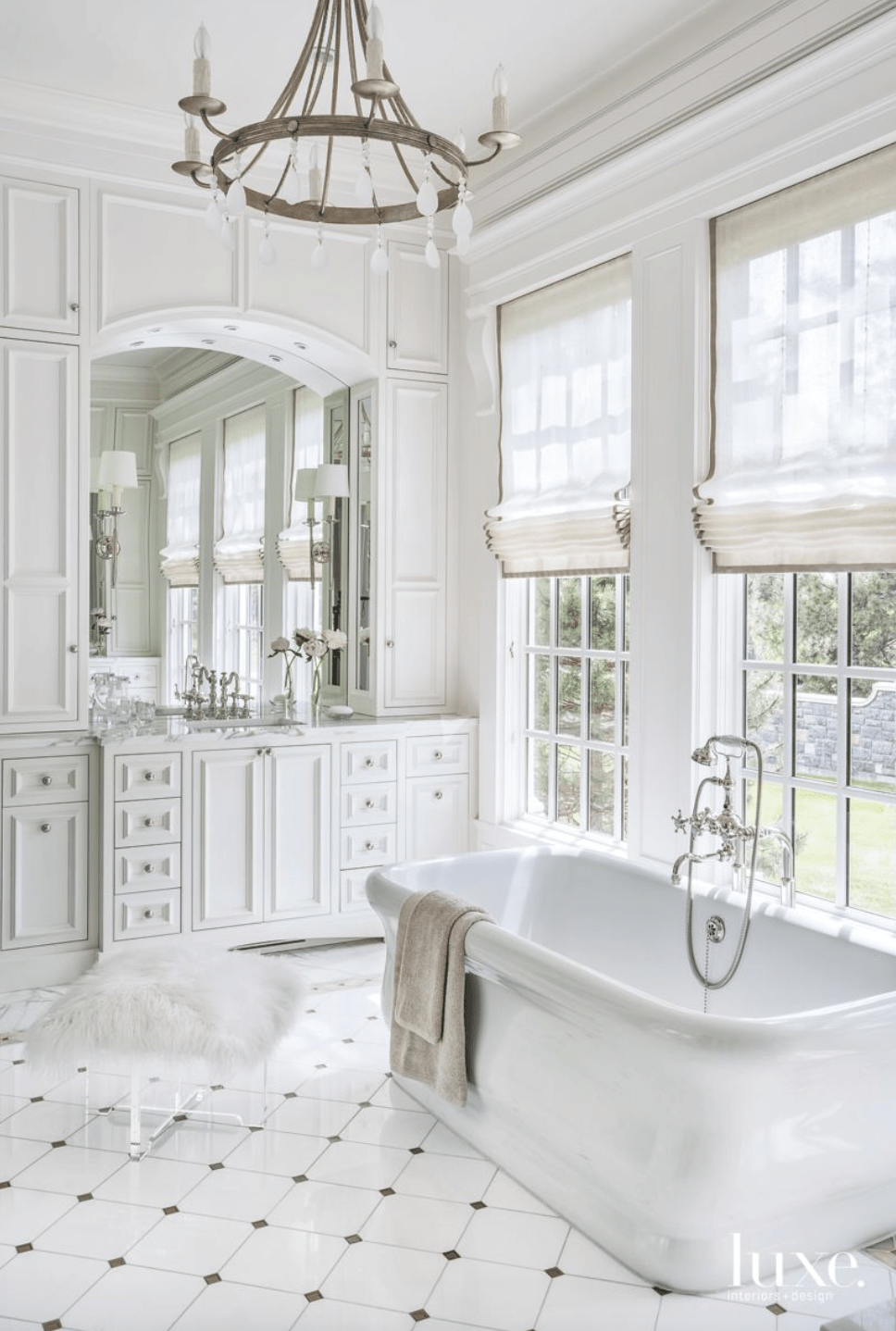 White master bath Inspiration - Luxe Interiors and Homes