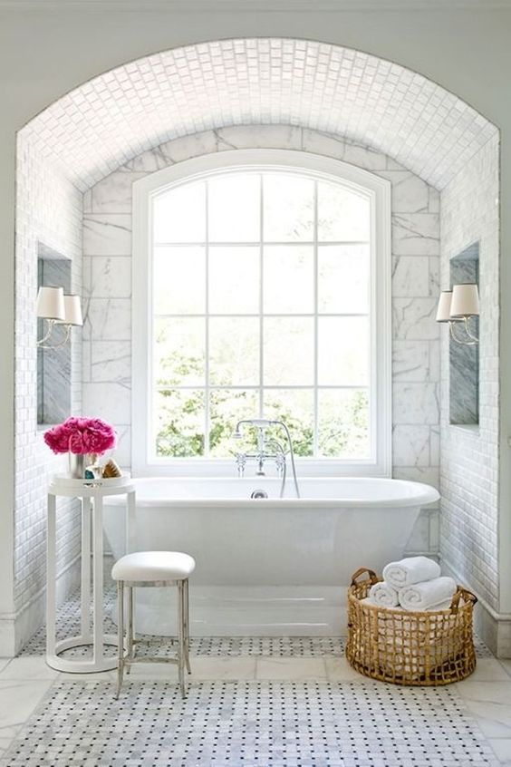 White master bath Inspiration - Mark Williams Design Associates