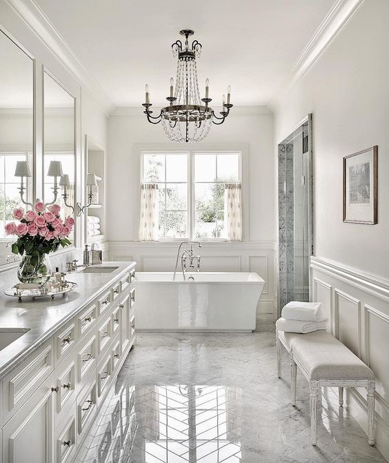 White master bath Inspiration - PHX Architecture