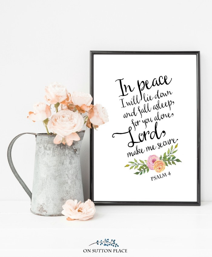 Psalm 4 Free Printable Wall Art by On Sutton Place