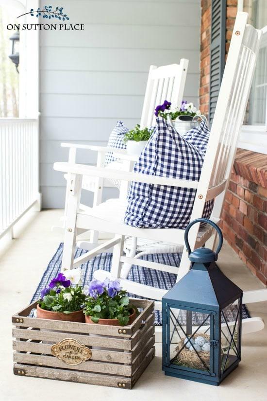 2 summer porch gingham pillows