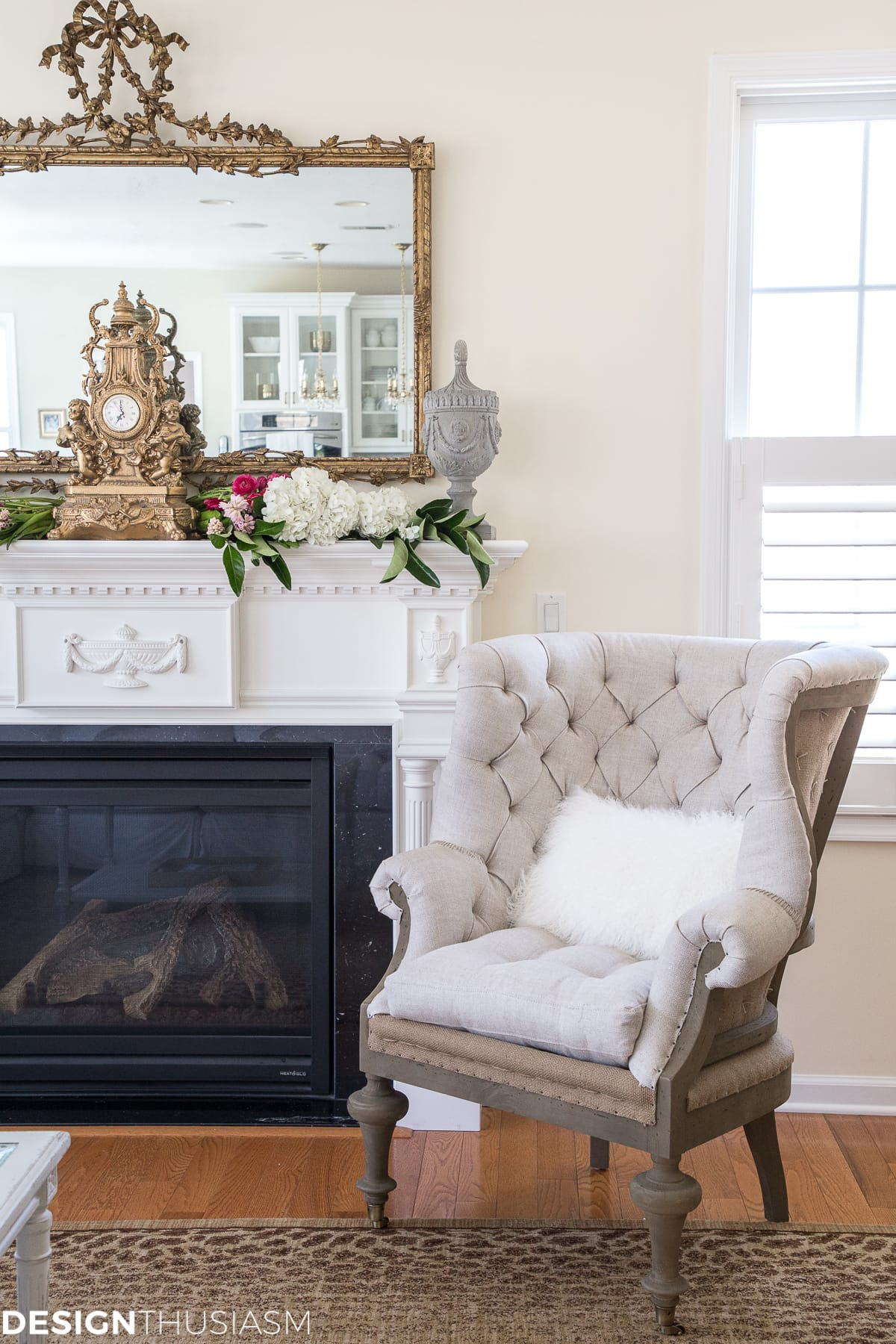 A French Style Chair Accentuates A Spring Mantel   Designthusiasm.com