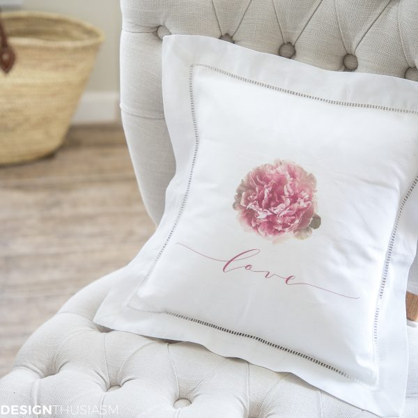 Peony Love flower pillow cover - designthusiasm.com