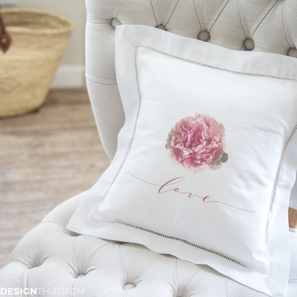 Decorative Pillows Peony Love Flower Pillow Cover