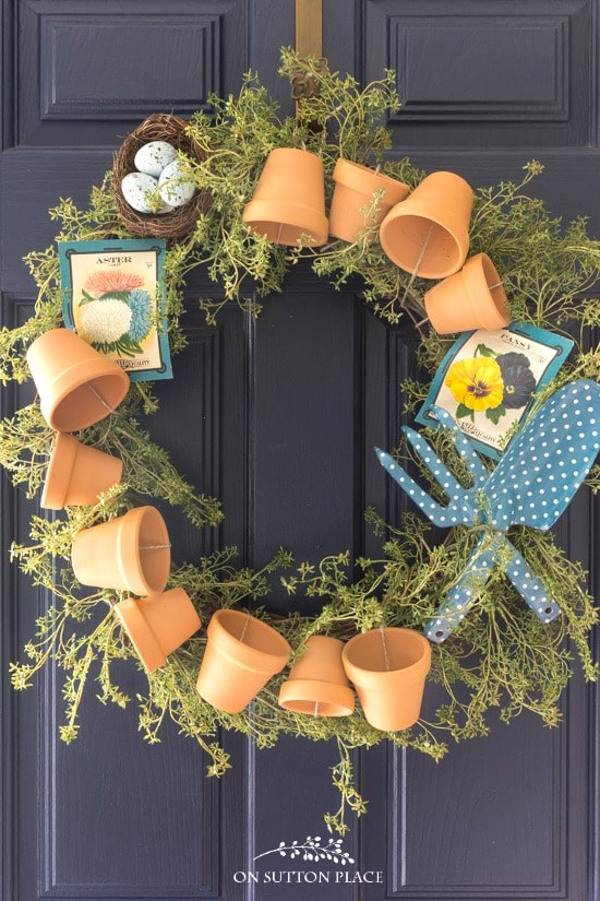 diy garden wreath tutorial navy door