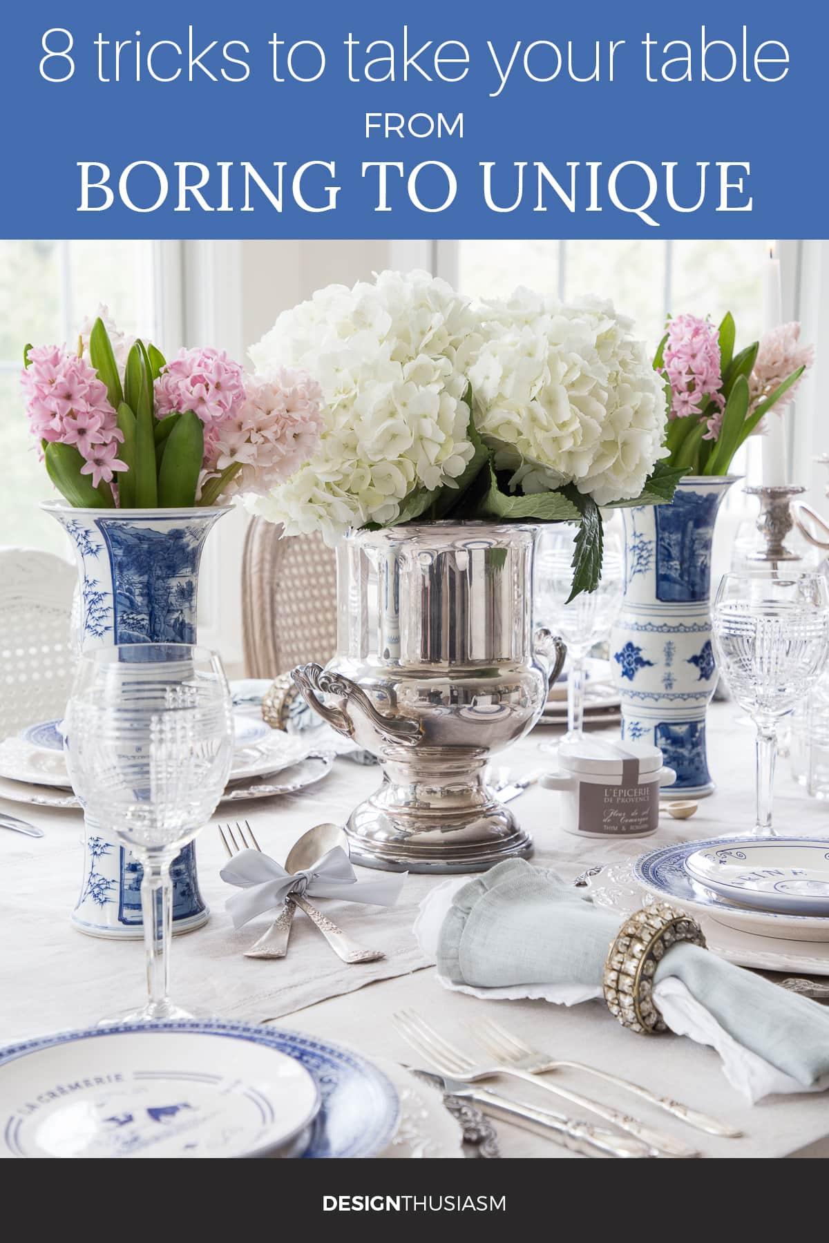 Unique blue and white tablescape