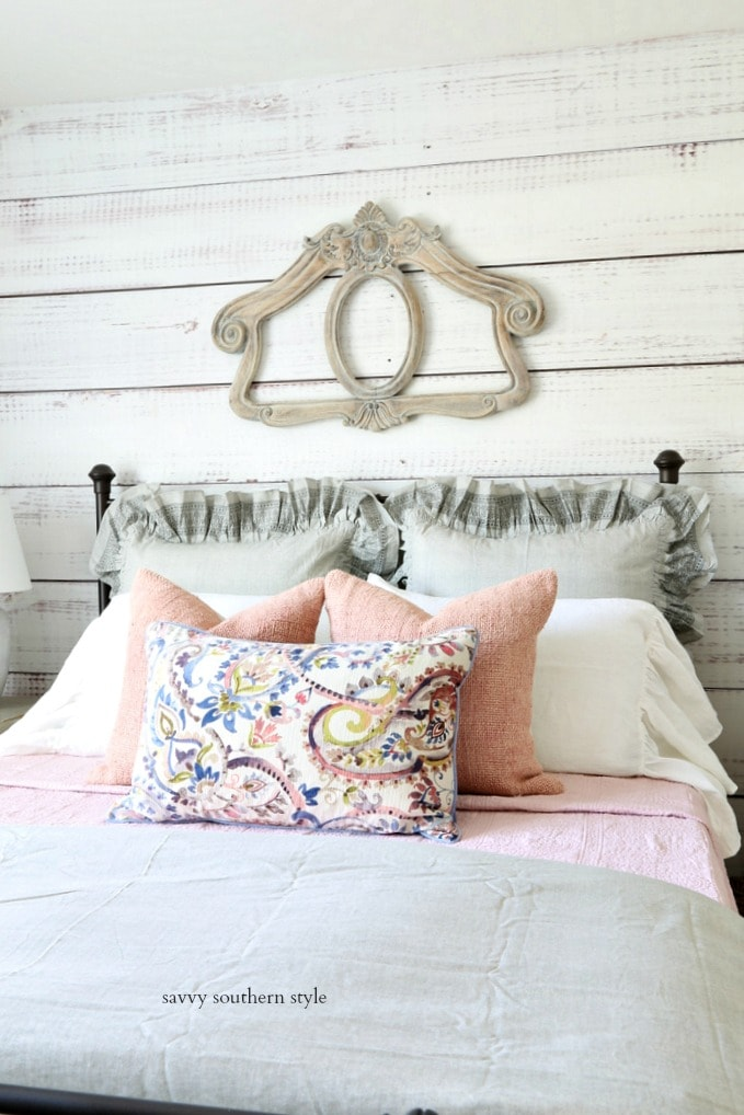 pink and gray guest bedroom