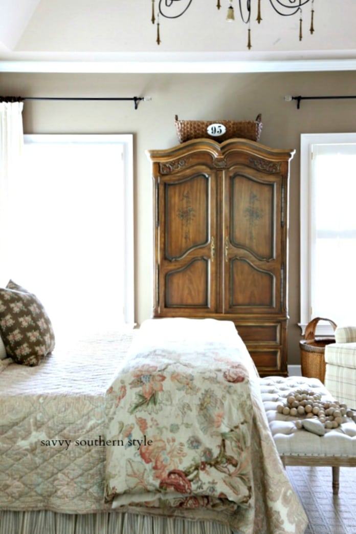 Savvy Southern Style - French armoire in master
