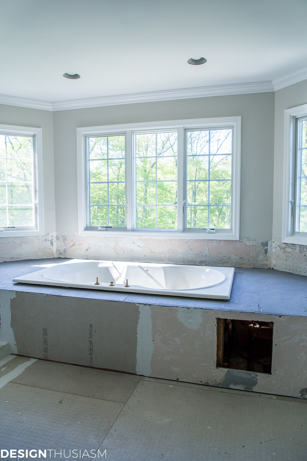 Master bath renovation progress - designthusiasm.com