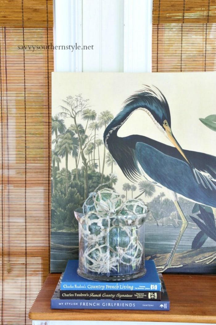 bird print and fishing floats