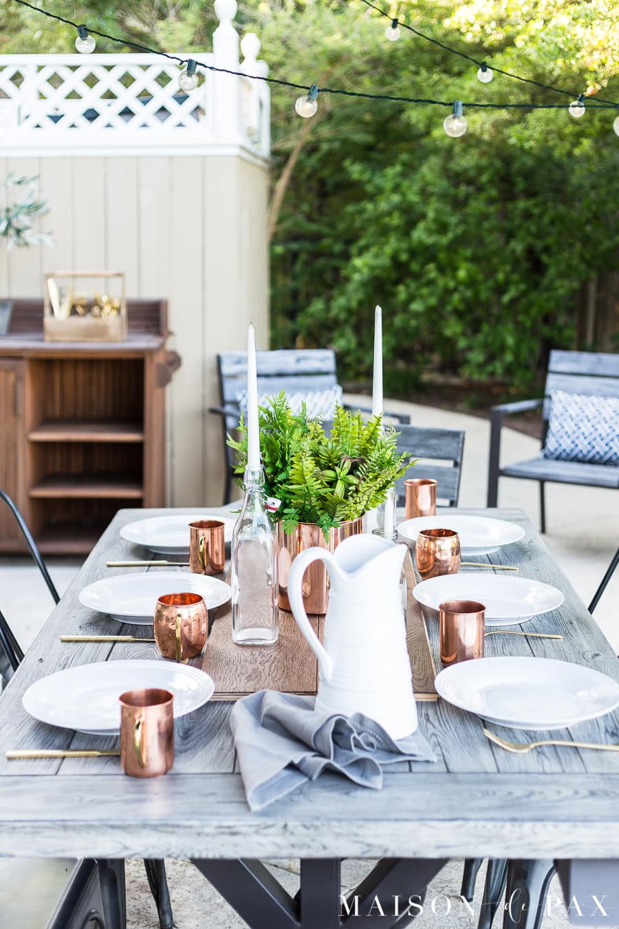 copper and white summer outdoor dining