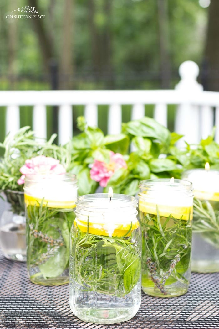 DIY Citronella Herb Floating Candles from On Sutton Place