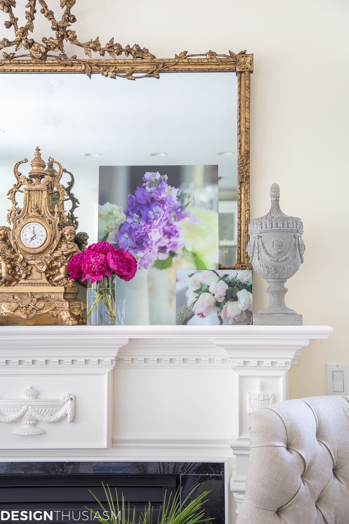 how to decorate a mantel with floral decor designthusiasmcom