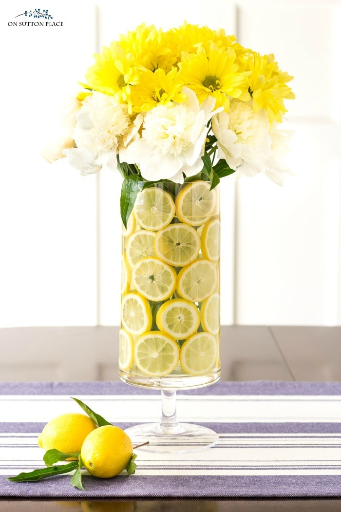Lemon Flower Arrangement for Summer from On Sutton Place