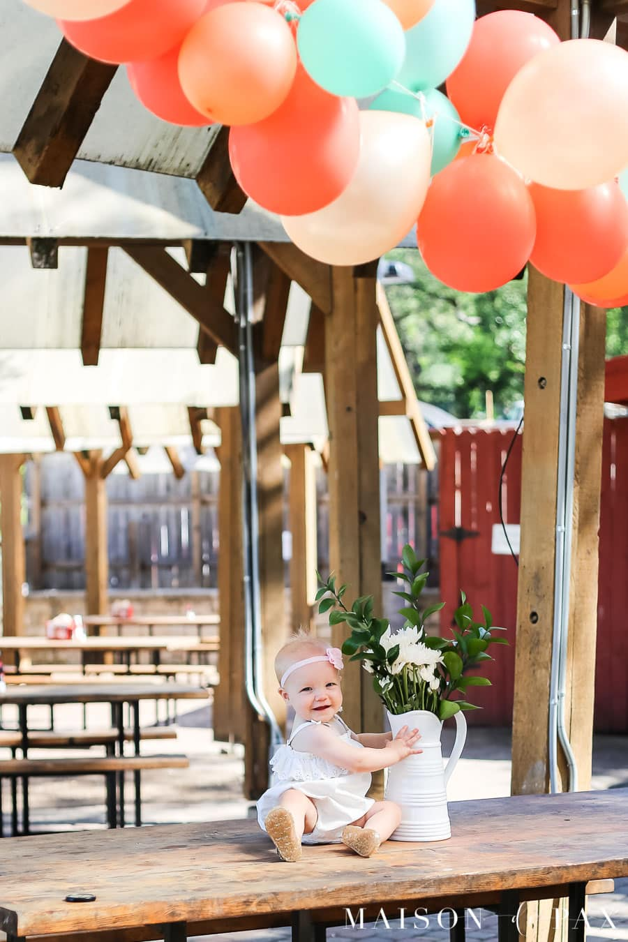 balloon garland outdoor party decoration