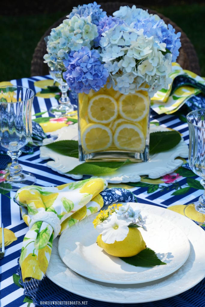 Home is Where the Boat Is Lemons and Hydrangeas Alfresco Summer Tablescape