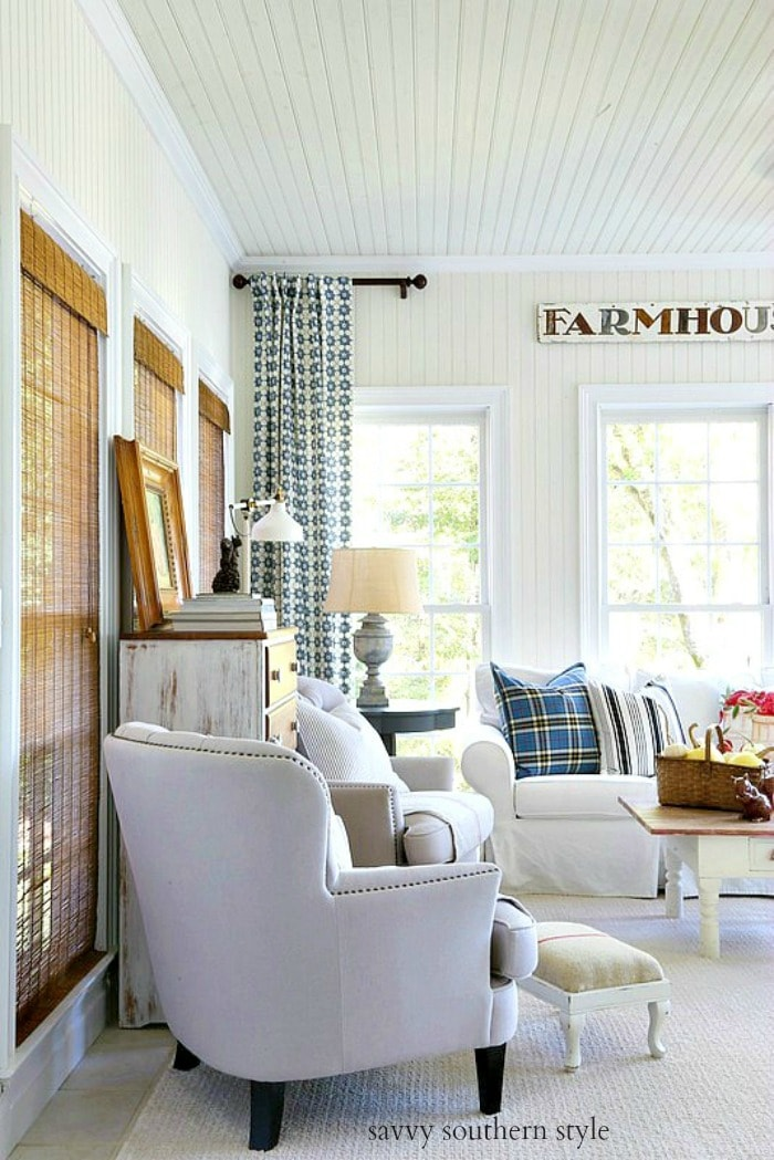 fall farmhouse style sun room