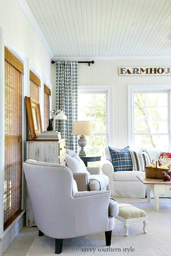 fall farmhouse style sun room