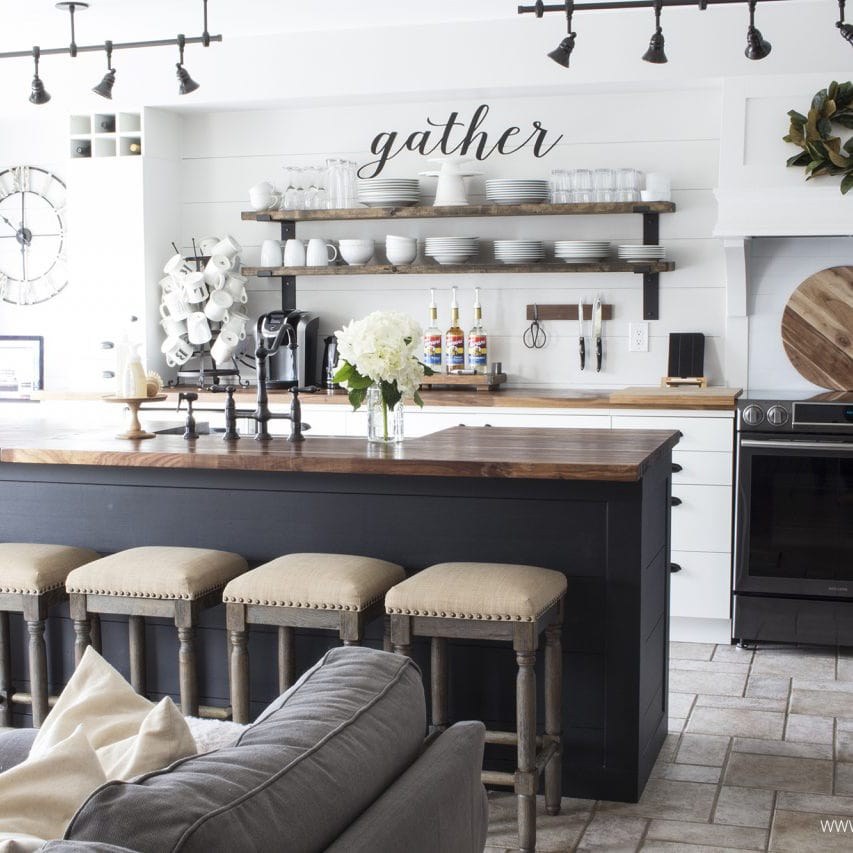 white-shiplap-kitchen-butcher-block-counters-black-island