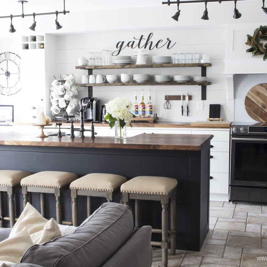 white-shiplap-kitchen-butcher-block-counters-black-island