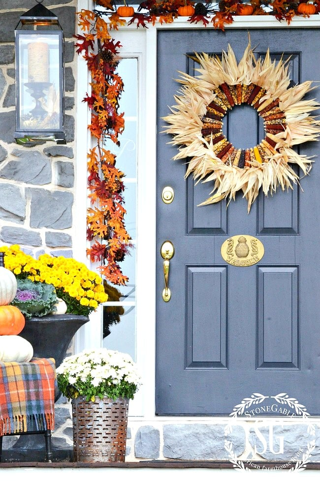 FALL FRONT PORCH-mums-urns-under the porch-stonegableblog.com