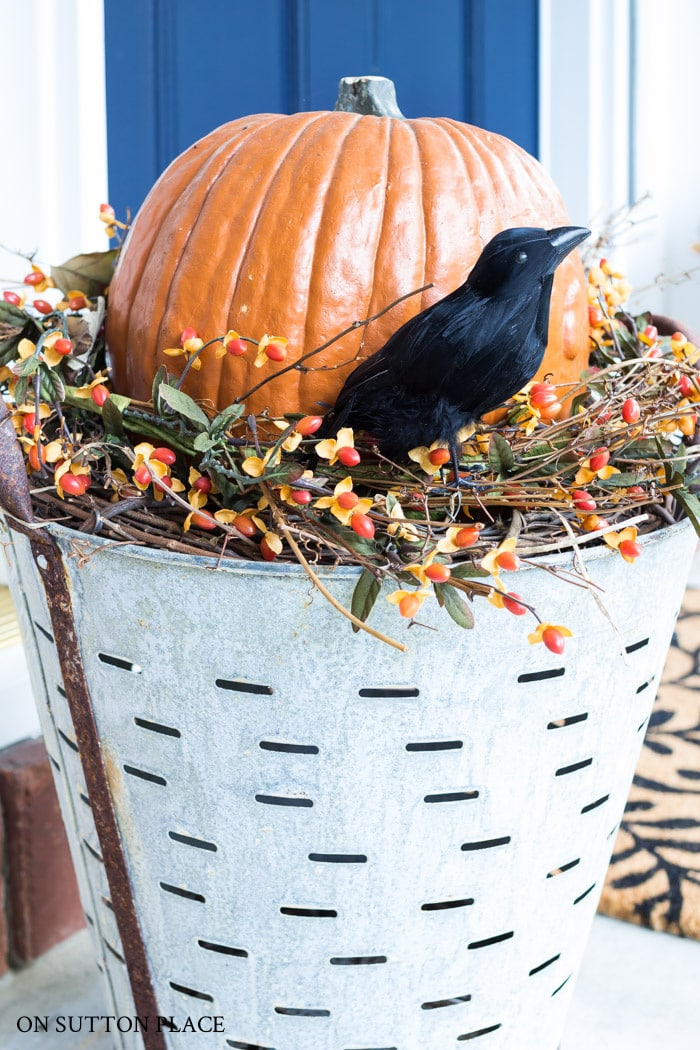 Halloween Pumpkin Olive Bucket Planter from On Sutton Place