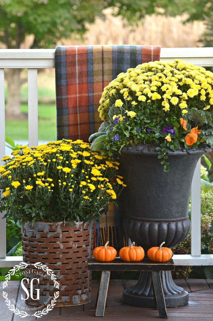 SMALL-FALL-OUTDOOR-SPACES-tartan-on-the-porch-rail-on-web-stonegableblog.com_