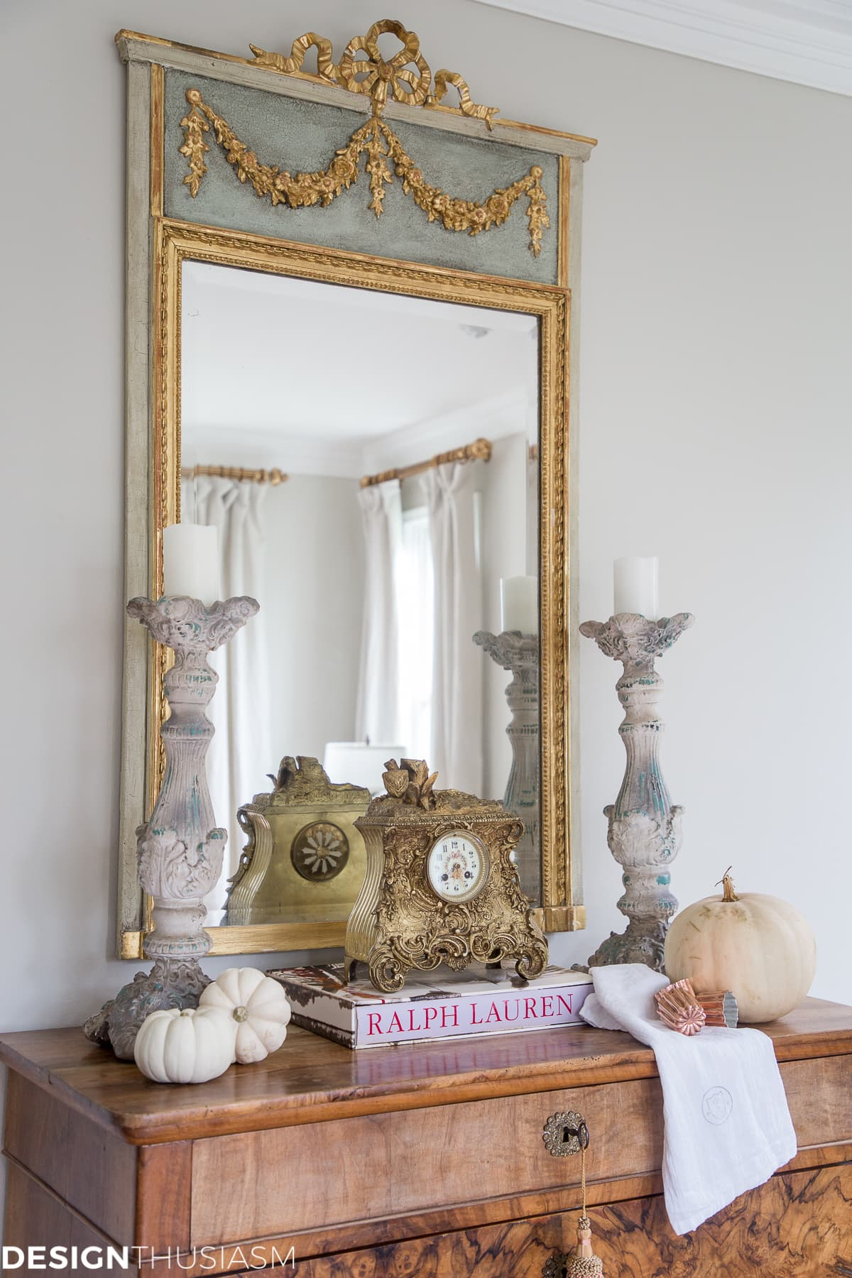 gorgeous french trumeau antique mirror in the living room