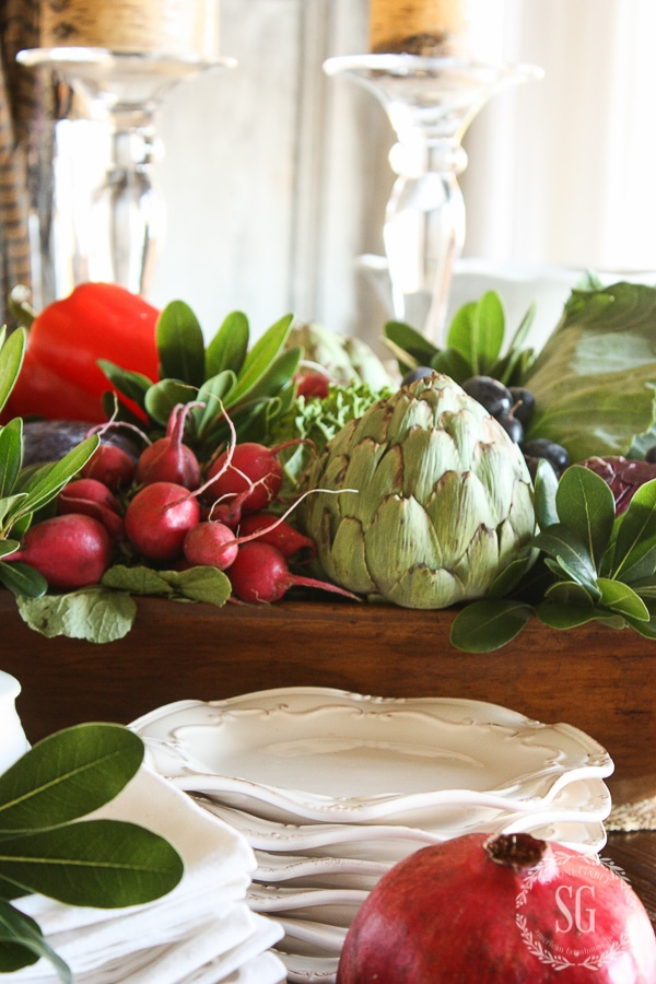 THANKSGIVING EDIBLE DOUGH BOWL CENTERPIECE-artichoke-raddishes-stonegableblog